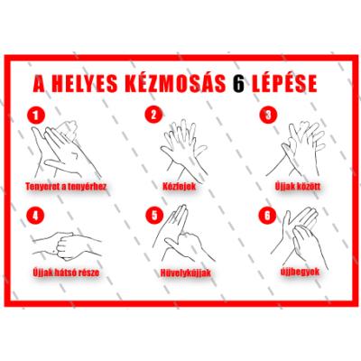 A helyes kézmosás 6 lépése matrica 16 x 12 cm
